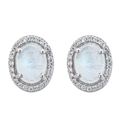Aquila Stud Earrings - Moonstone - Rhodium Plated
