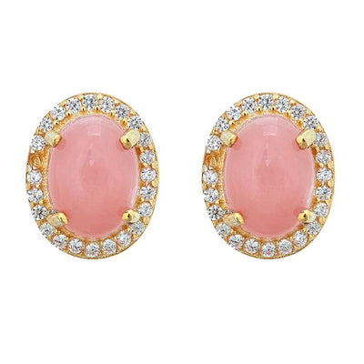 Aquila Stud Earrings - Pink Opal - 18K Gold Plated