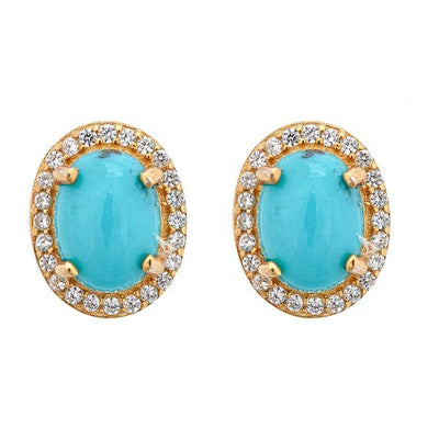 Aquila Stud Earrings - Turquoise - 18K Gold Plated