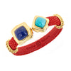 Two-Stone Bangle Bracelet - 18K Gold Plated- Coral Stingray Leather