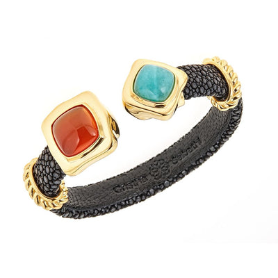 Two-Stone Bangle Bracelet - 18K Gold Plated - Black Stingray Leather