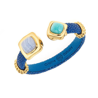 Two-Stone Bangle Bracelet - 18K Gold Plated - Sapphire Stingray Leather
