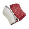 Chimera Bangle Bracelet with CZs - Rhodium Silver - Bordeaux Stingray Leather
