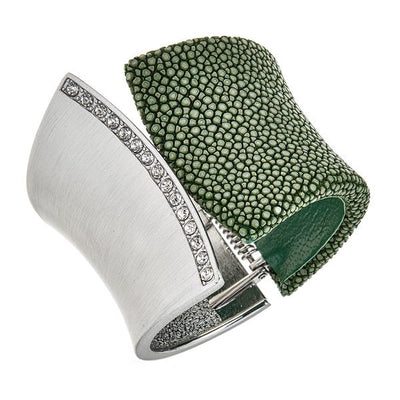 Chimera Bangle Bracelet with CZs - Rhodium Silver - Green Stingray Leather