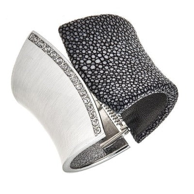 Chimera Bangle Bracelet with CZs - Rhodium Silver - Black Stingray Leather