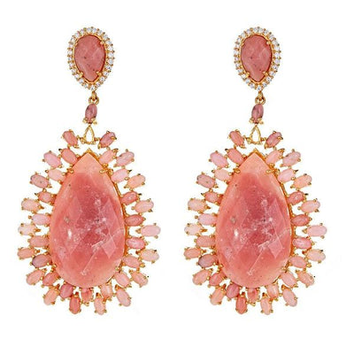 Draco Earrings - Pink Opal - 18K Gold Plated