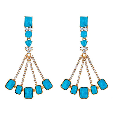 Cristina Sabatini: Sagittarius Earrings - Turquoise - Gold