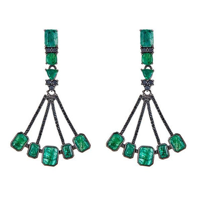 Cristina Sabatini: Sagittarius Earrings - Emerald Black