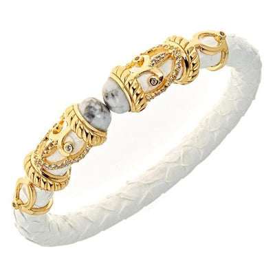Python Rope Scroll Bangle Bracelet - 18K Gold Plated - Snow Python Leather