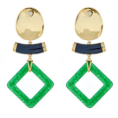 Cristina Sabatini: Aten Earrings - Jade Gemstone