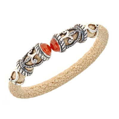 Rope Scroll Bangle Bracelet - Sterling Silver - Snow Stingray Leather