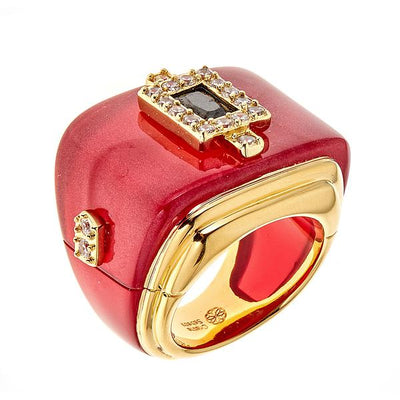 Jewelry -Women's Rings -  18K Gold Plated Rectangular Ring - by Cristina Sabatini
