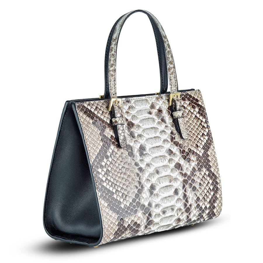 Mini Francesca Tote - Neutral Python Snakeskin Leather Handbag by Cristina Sabatini
