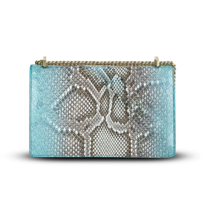 Serena Crossbody - Aqua Python Snakeskin Leather Handbag by Cristina Sabatini Full Product View