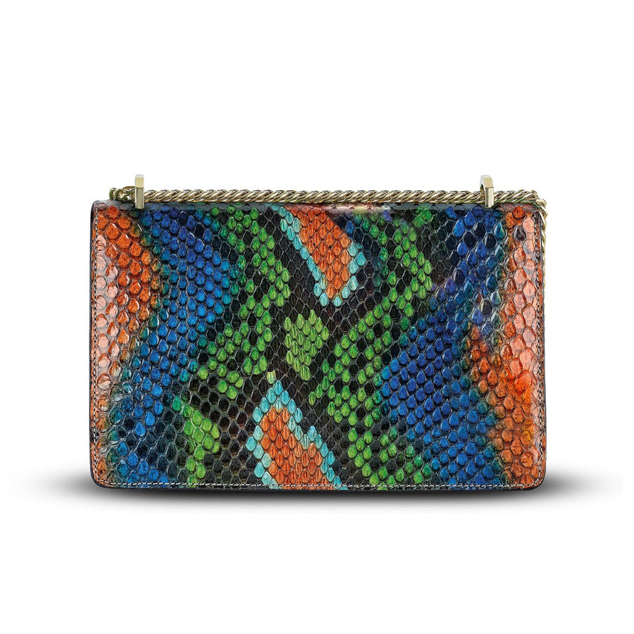Serena Crossbody - Bold Rainbow Snakeskin Python Leather Handbag by Cristina Sabatini