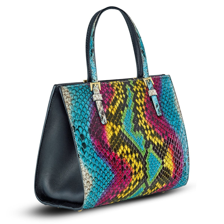 Mini Francesca Tote - Rainbow Python Snakeskin Leather Handbag  by Cristina Sabatini