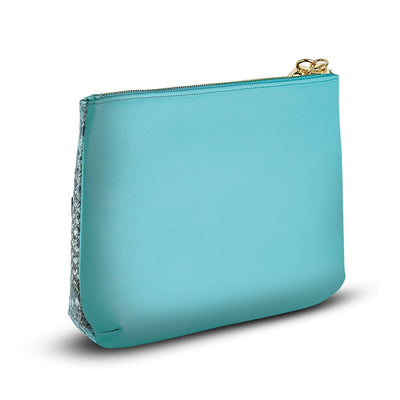 Women's Handbag- Giada Pouch - Aqua Python Snakeskin Leather Handbag by Cristina Sabatini Back view