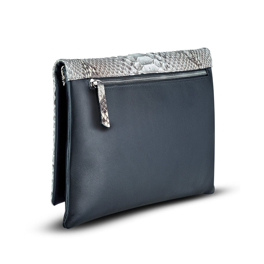 Accessories - Women's Handbag - Carlotta Clutch - Black Python Snakeskin Leather Handbag Front Bag View