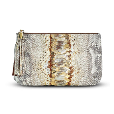 Giada Pouch -Shimmered Python Snakeskin Leather Handbag by Cristina Sabatini