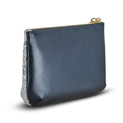 Giada Pouch - Iridescent Purple-Blue Python Snakeskin Leather Handbag by Cristina Sabatini Back Product View