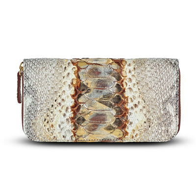 Women's Brown Leather Python Wallet | Cristina Sabatini