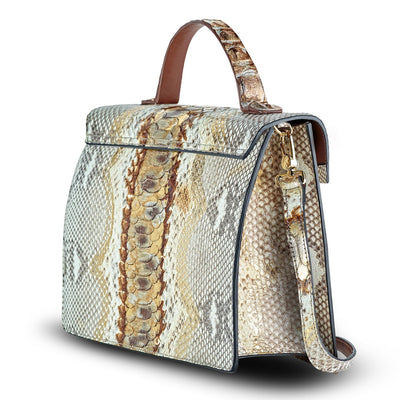 Python Structured Satchel Bag | Cristina Sabatini Italian Handbags
