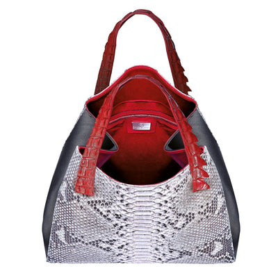 Valentina Tote - Red Python Leather Handbag by Cristina Sabatini Inside Product View