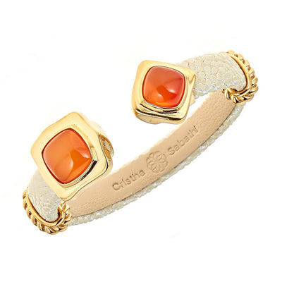 Two-Stone Bangle Bracelet - 18K Gold Plated - Natural Stingray Leather