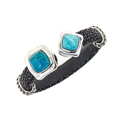 Two-Stone Gemstone Bangle - Sterling Silver - Black Stingray Leather