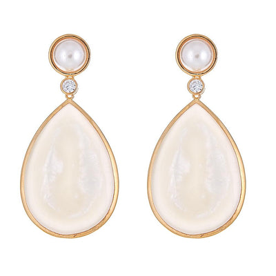 Pearl Drop Earrings - Mother of Pearl - Gold