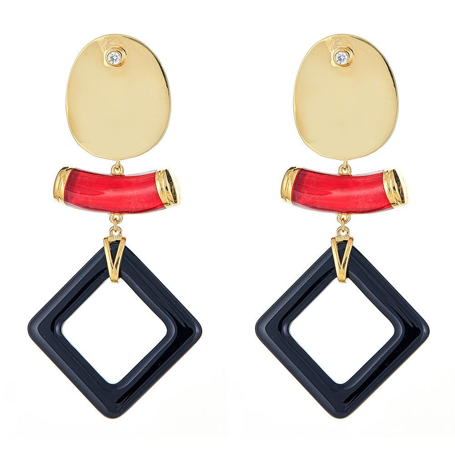 Cristina Sabatini: Aten Earrings - White Quartz Gemstone