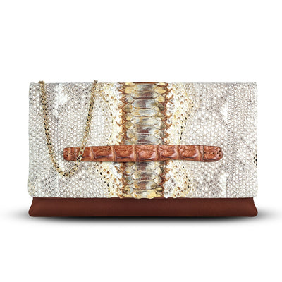 Accessories - Women's Handbag - Carlotta Clutch - Brown Python Snakeskin Leather Handbag Front Bag View