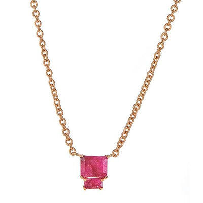 Lyra Necklace - Ruby - Gold Plated