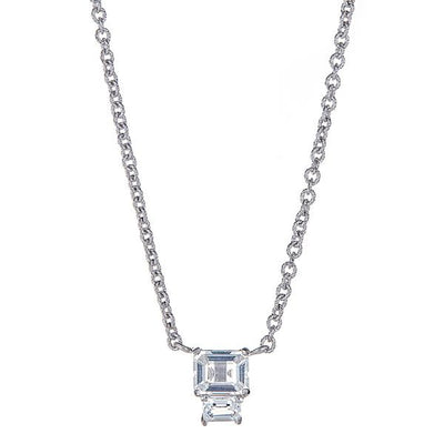 Lyra Necklace - White Topaz - Rhodium Silver Plated