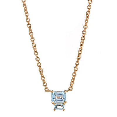 Lyra Necklace - Blue Topaz - Gold Plated