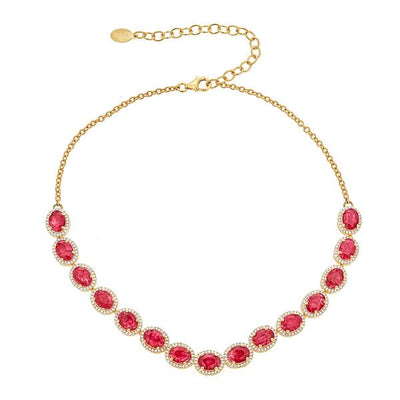 Altair Necklace - Ruby - 18K Gold Plating