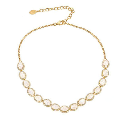 Altair Necklace - Moon Gemstone - 18K Gold Plating