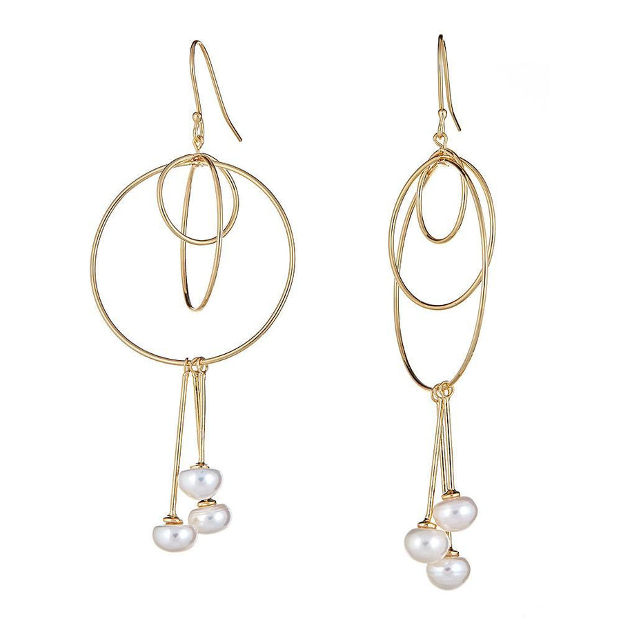 Trinity Pearl Earrings - 18K Gold