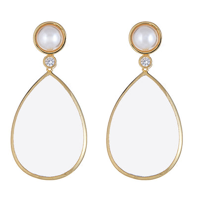 Pearl Drop Earrings - Clear - Gold