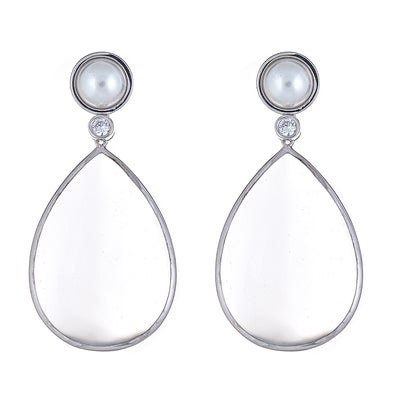 Pearl Drop Earrings - Clear - Rhodium