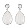 Pearl Drop Earrings - Mother of Pearl - Rhodium