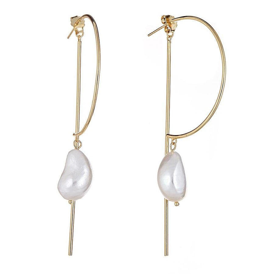 Pearl Bar Earrings - 18K Gold Plated