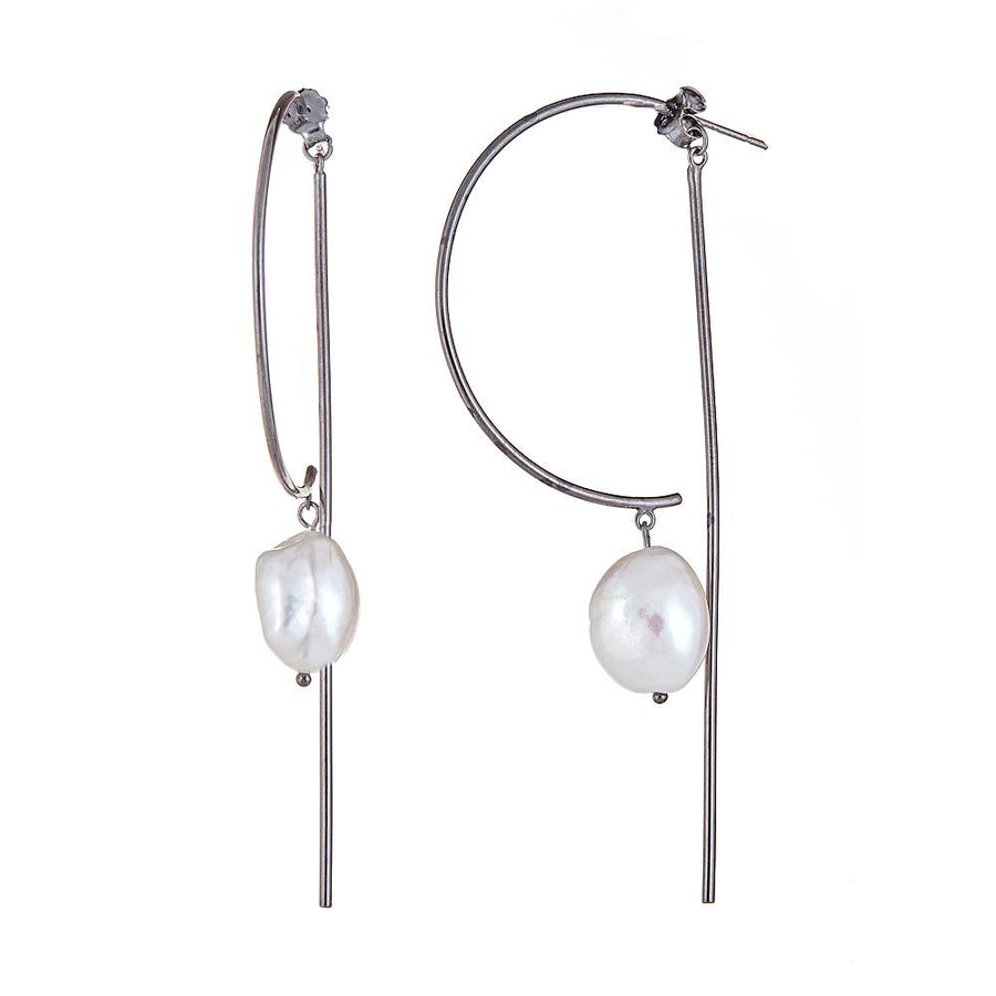 Pearl Bar Earrings - Rhodium