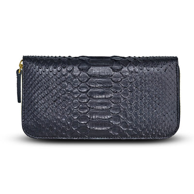 Accessories- Women's Wallets - Camilla Wallet -Black Python Snakeskin Leather by Cristina Sabatini