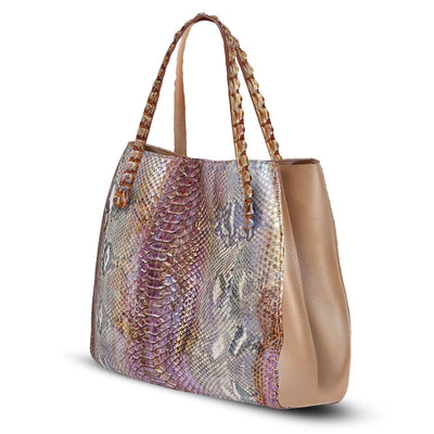 Valentina Tote - Pink Python Leather Handbag by Cristina Sabatini Side Product VIew