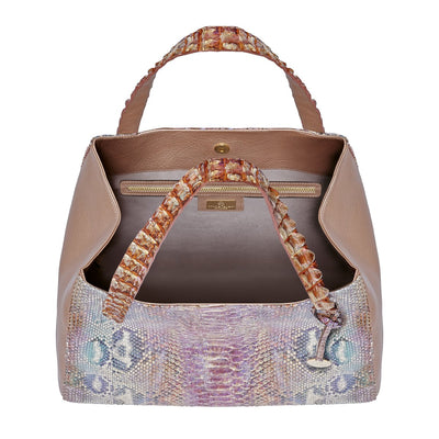 Valentina Tote - Pink Python Leather Handbag by Cristina Sabatini Inside Bag View