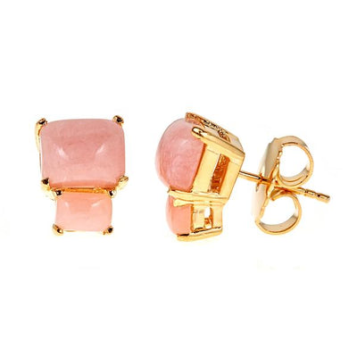 Lyra Earrings - Pink Opal - Gold Plated