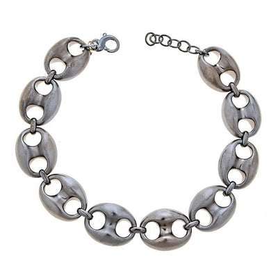 Cristina Sabatini Chain Jewelry - Black Rhodium Gear Link Necklace
