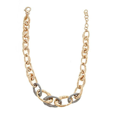 Cristina Sabatini Chain Jewelry - Chain Link Necklace in Antique Bronze and Black Rhodium