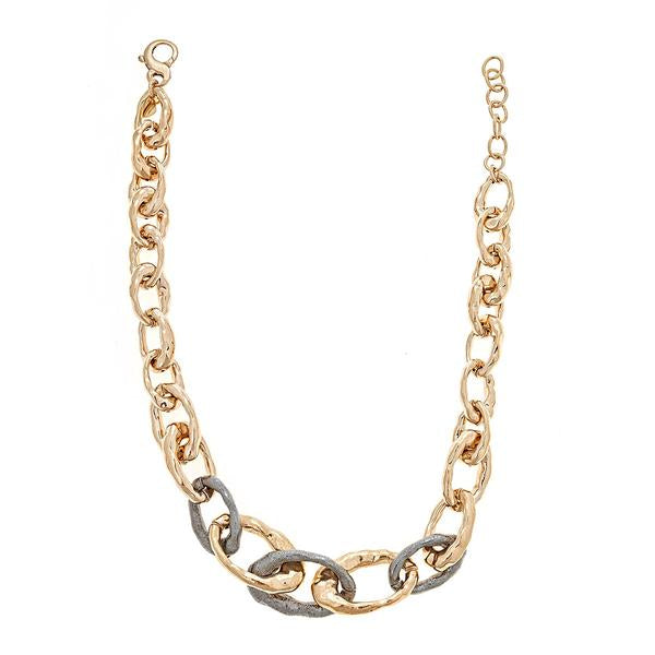 Cristina Sabatini Chain Jewelry - Chain Link Necklace in Black Rhodium and Antique Bronze